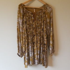 Free People boho floral long sleeve dress L
